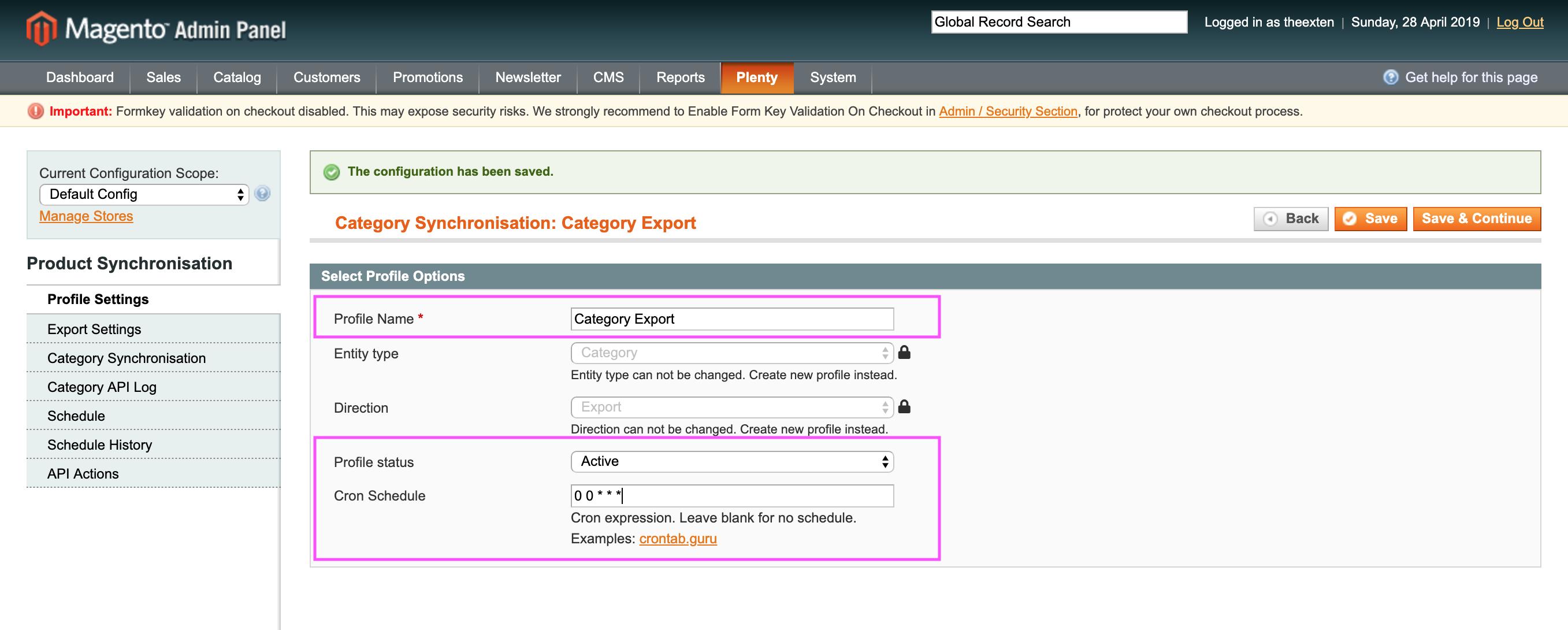 Mage2Plenty - category export configuration