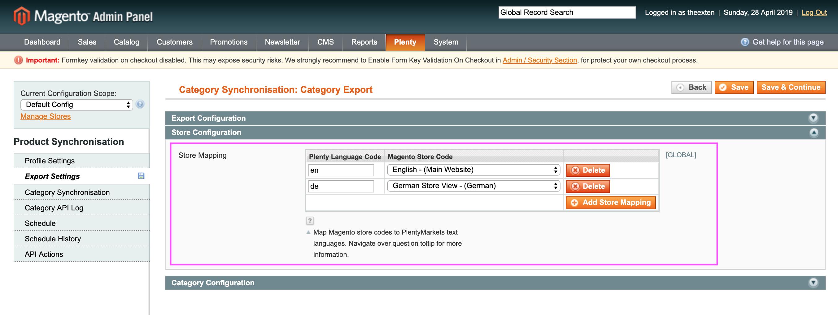 Mage2Plenty - category export - store configuration
