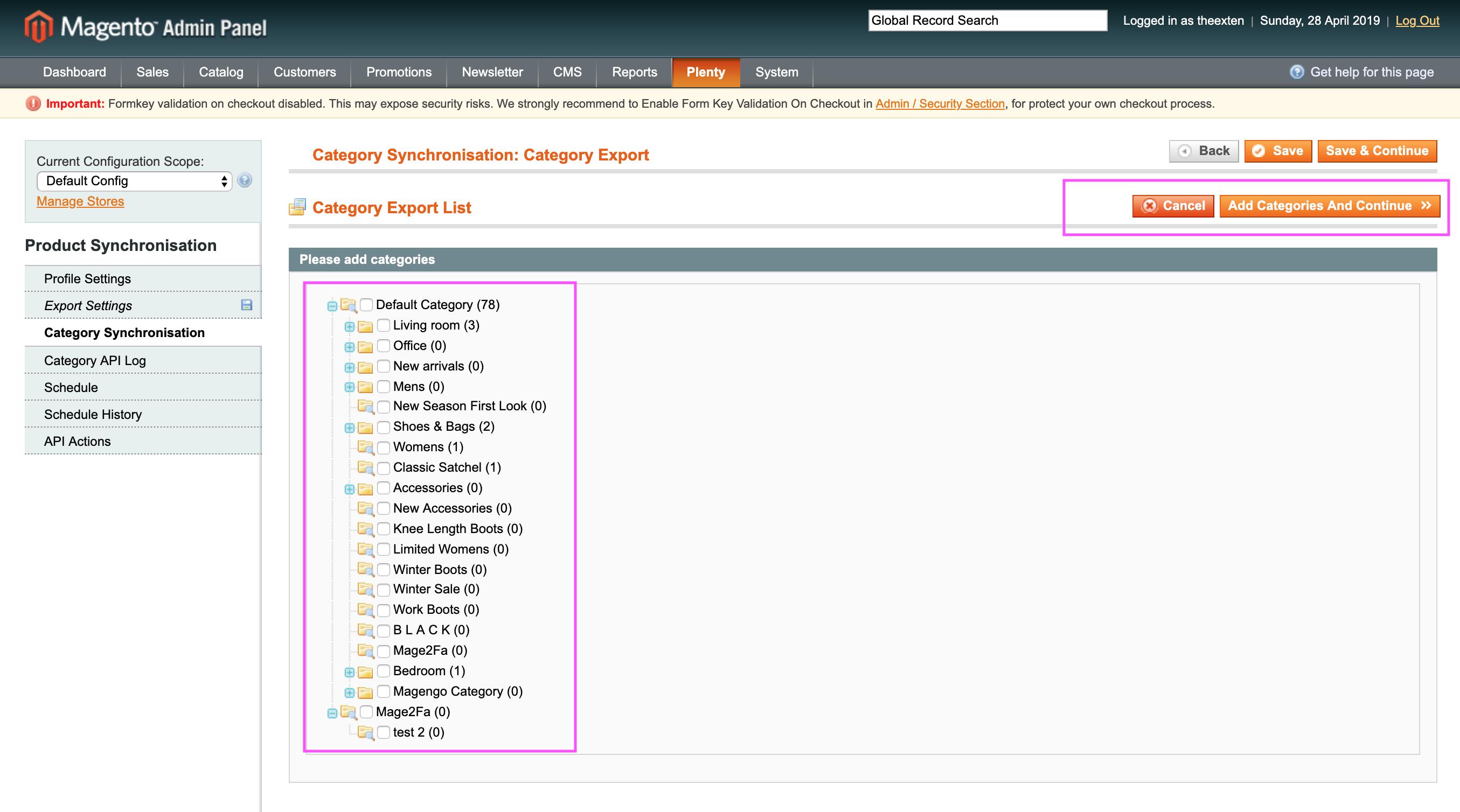Mage2Plenty - category export - schedule