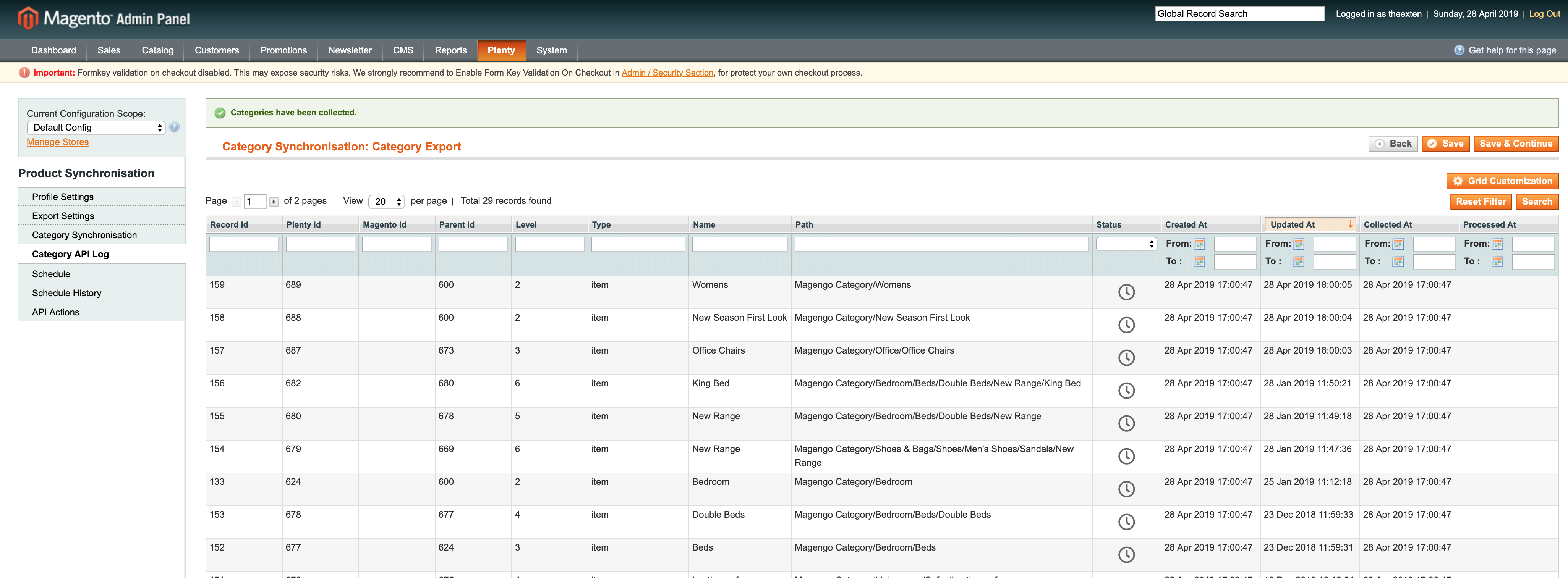 Mage2Plenty - category export - category log
