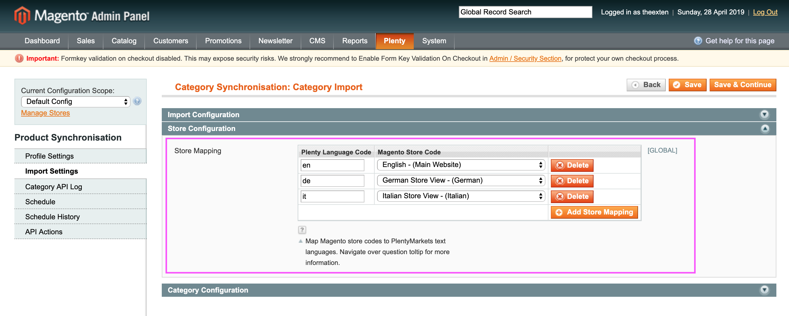 Mage2Plenty - category import - store configuration