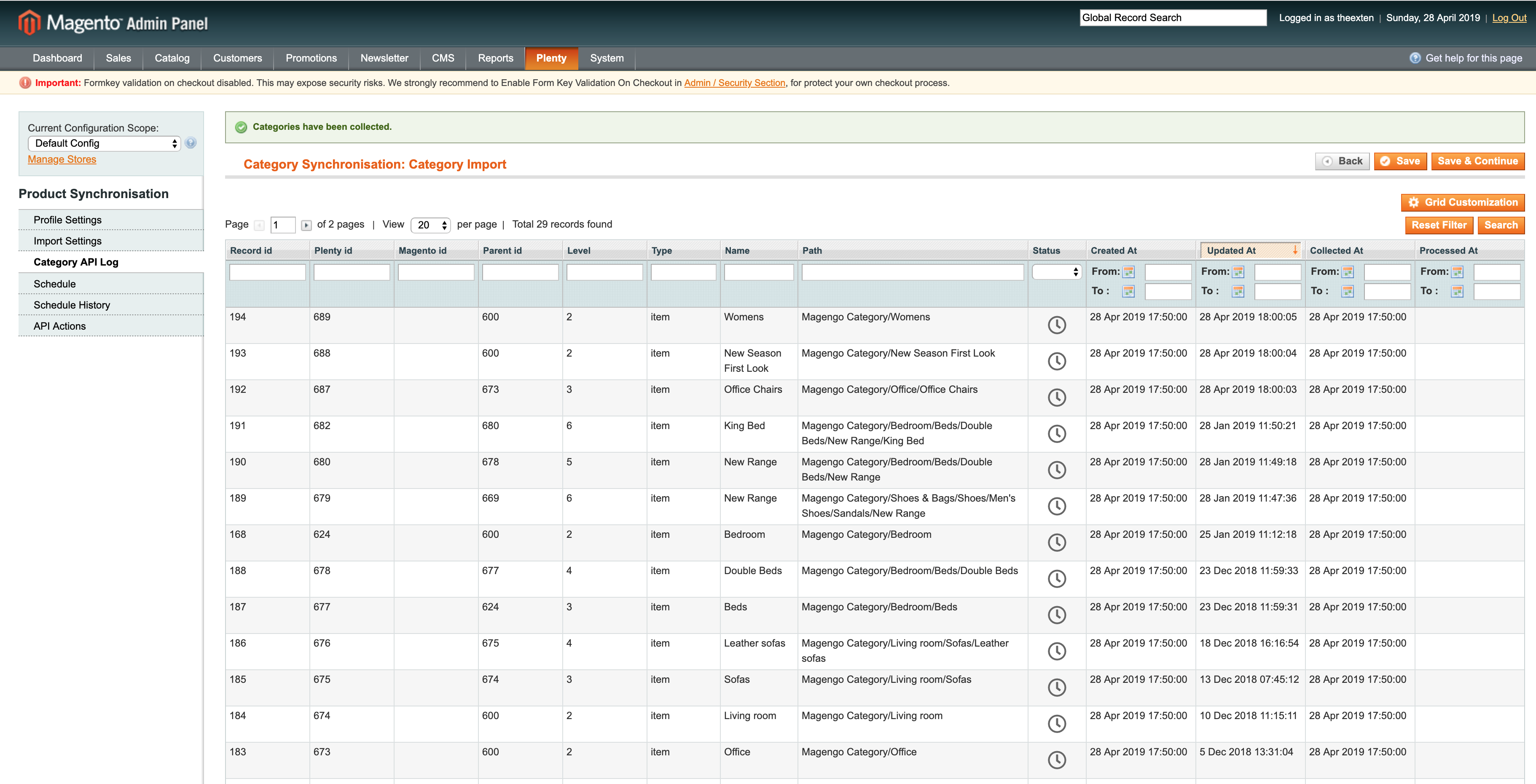 Mage2Plenty - category import - category log
