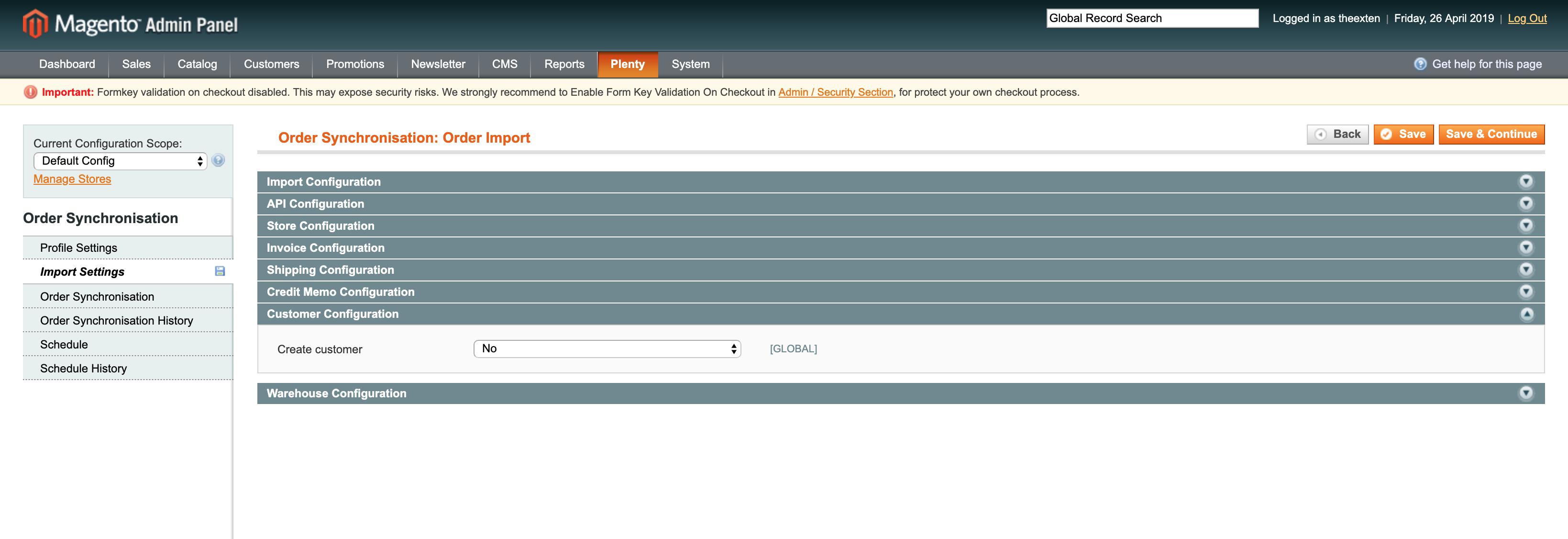 Mage2Plenty - order import configuration
