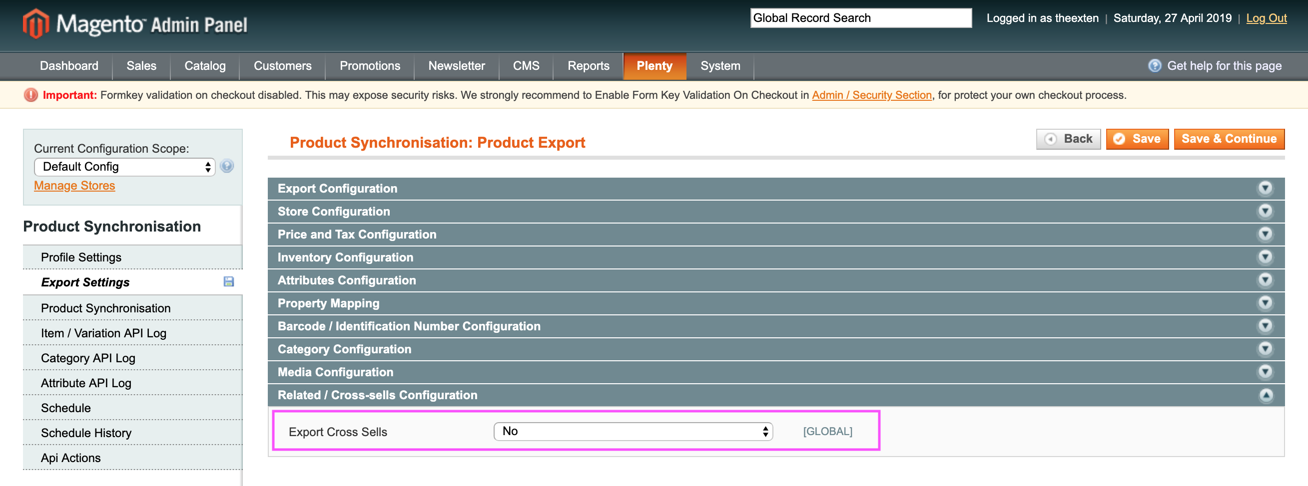 Mage2Plenty - product export - cross sells configuration