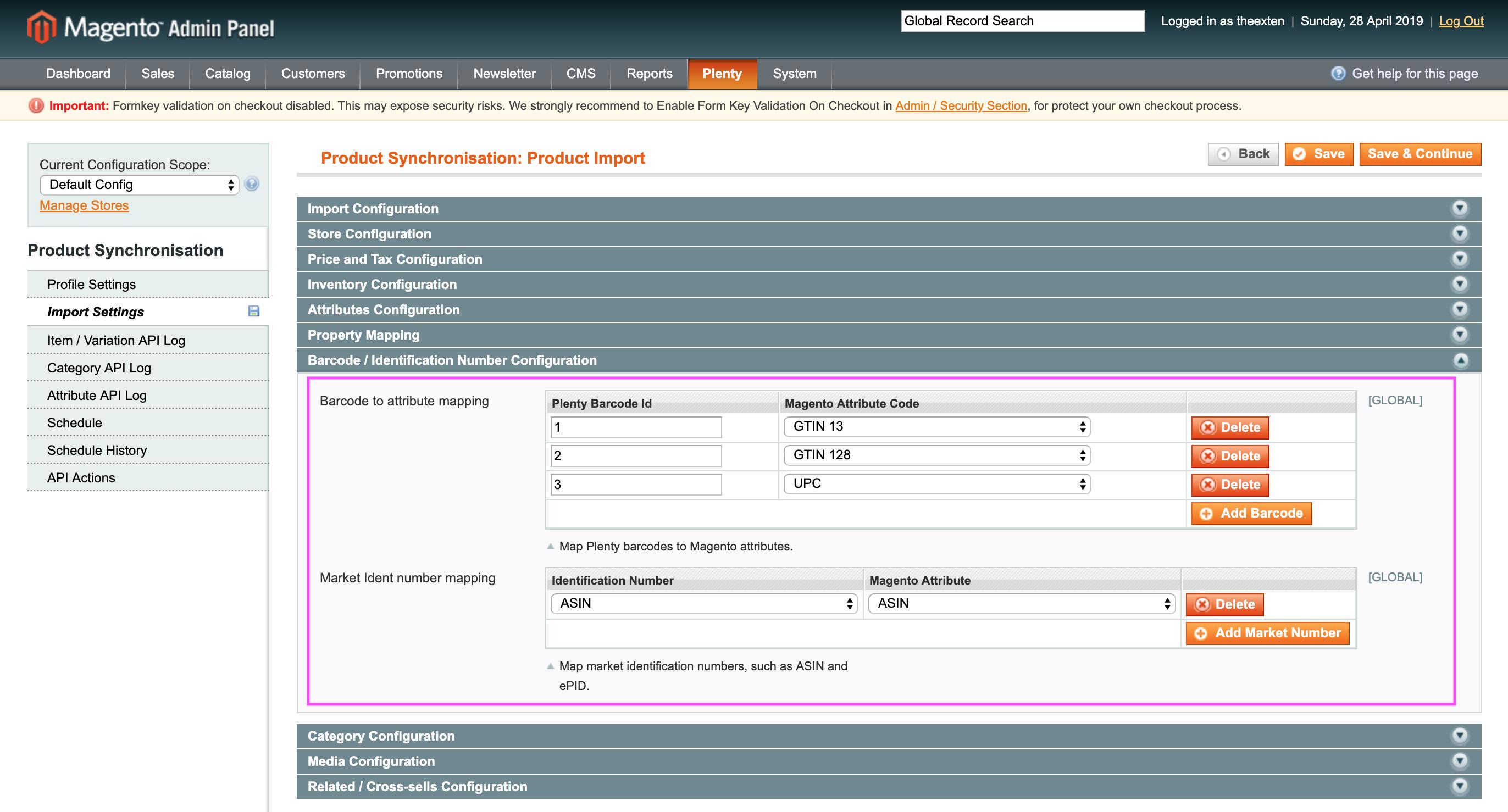 Mage2Plenty - product import - barcode configuration