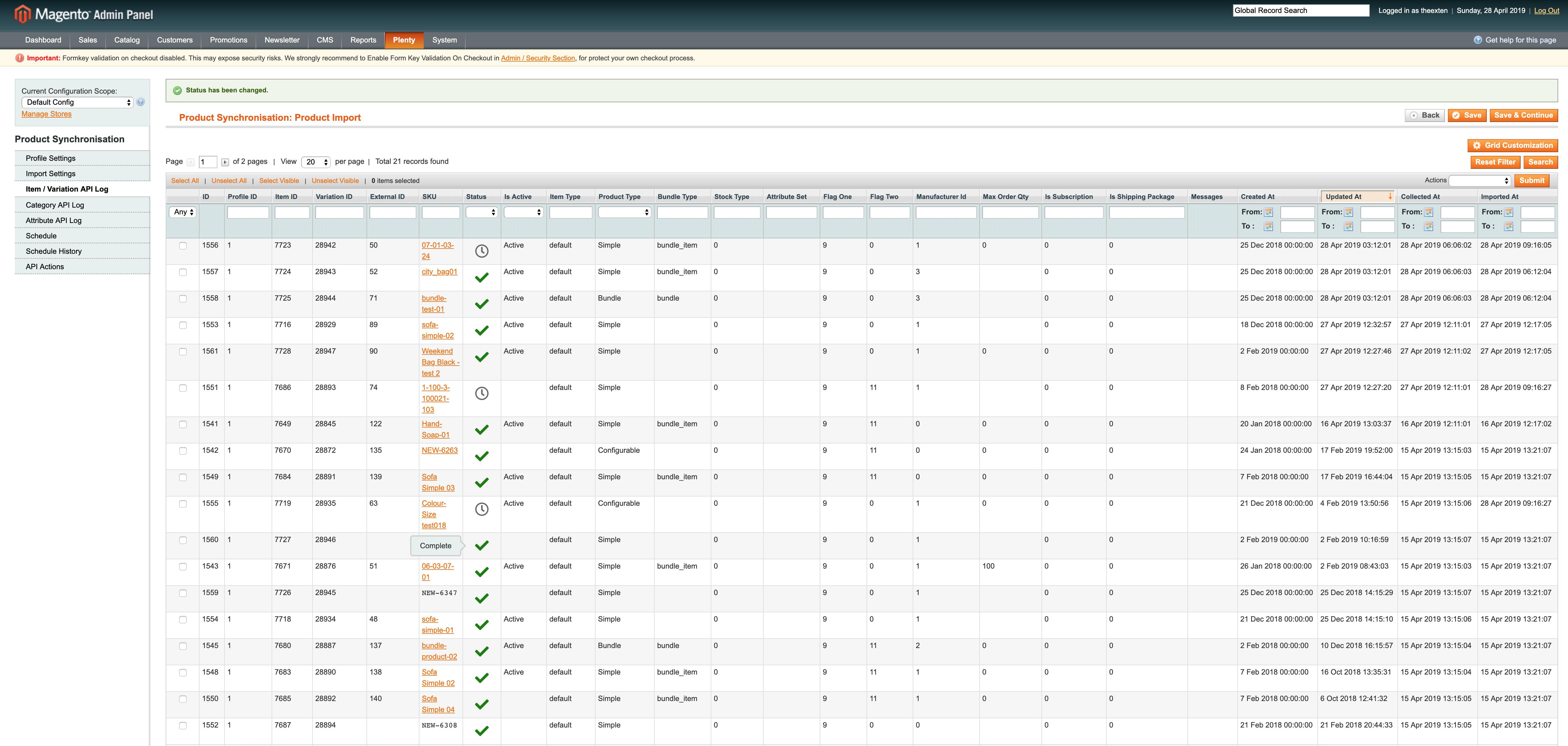 Mage2Plenty - product import - item variation log