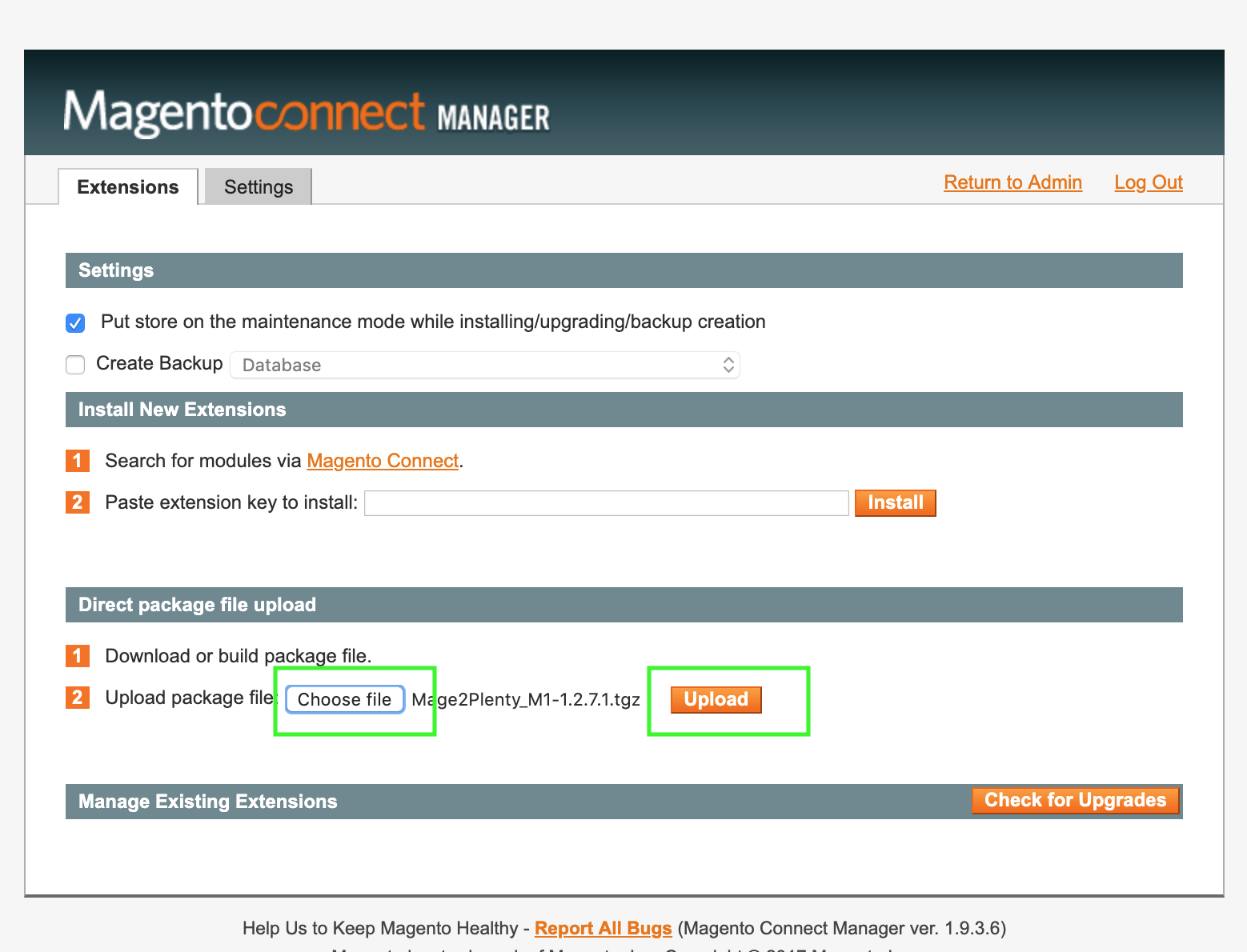 Magento 1 extension installation - connect manager